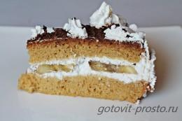 Торт со взбитыми сливками и бананом с пошаговыми фото
